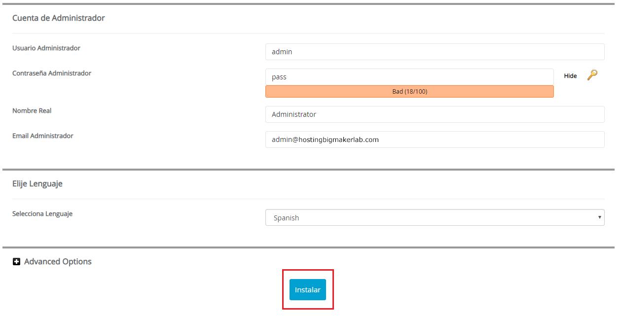 De clic en el botón instalar Joomla hostingbigmaker