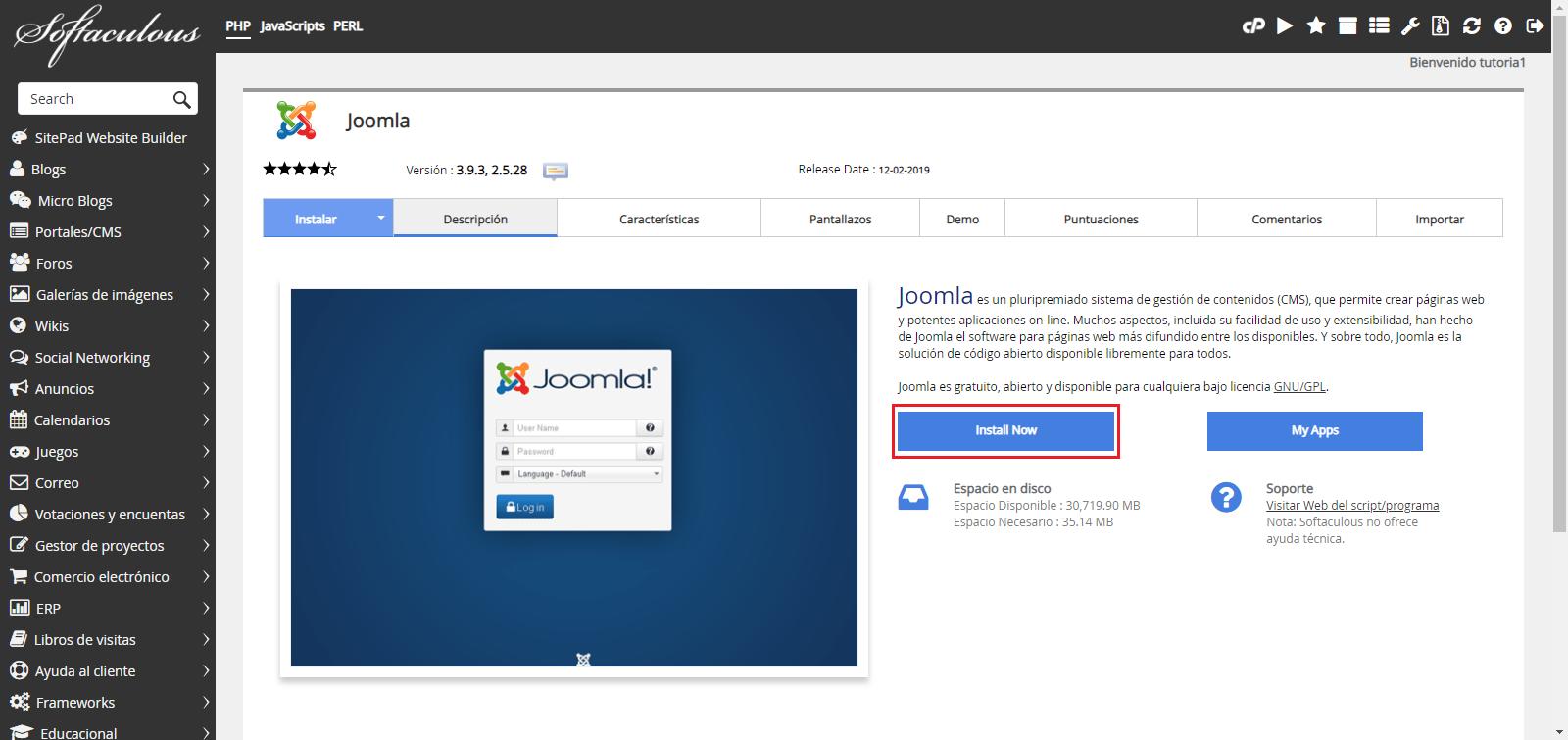 Instalar Joomla Hostingbigmaker 2