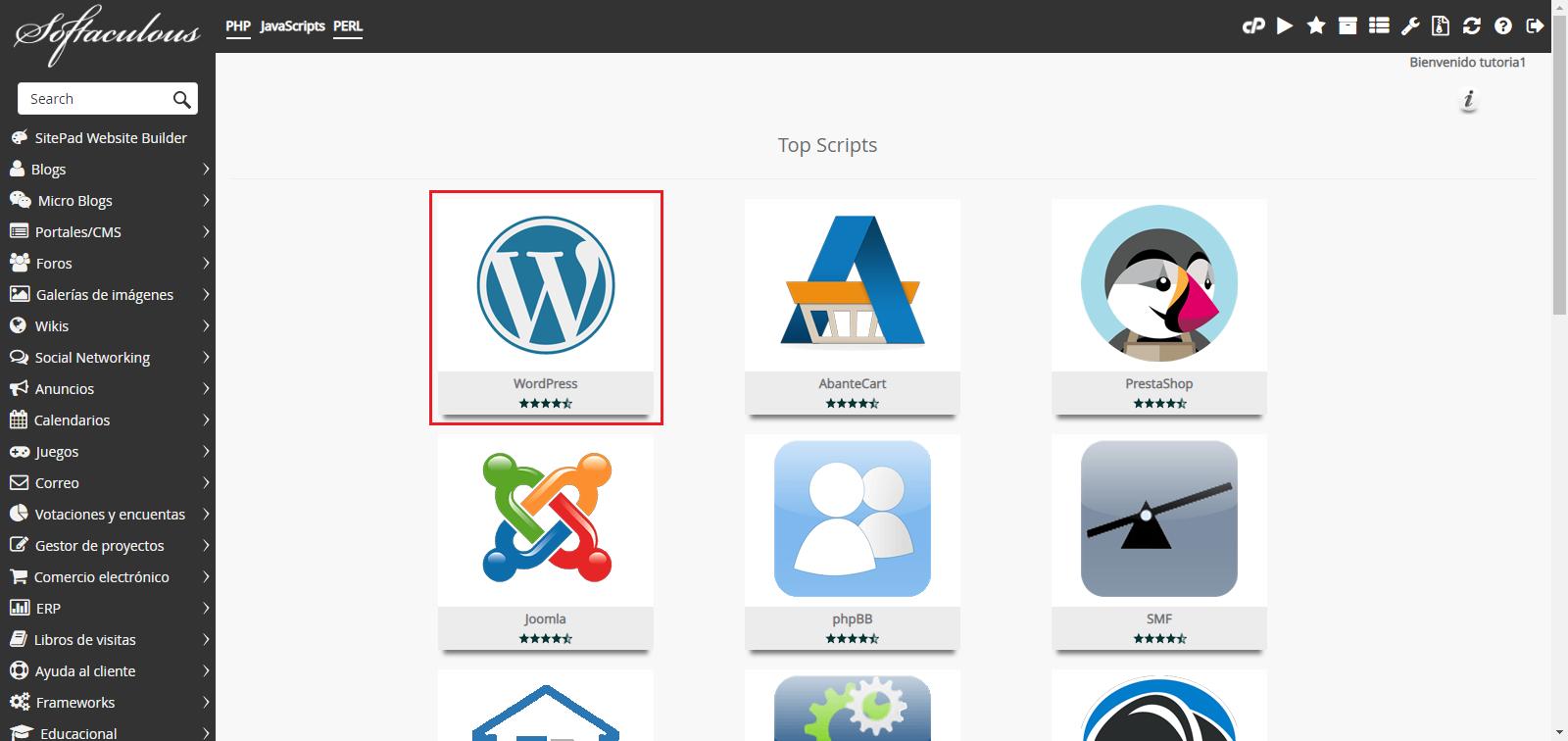 Instalar WordPress Hostingbigmaker