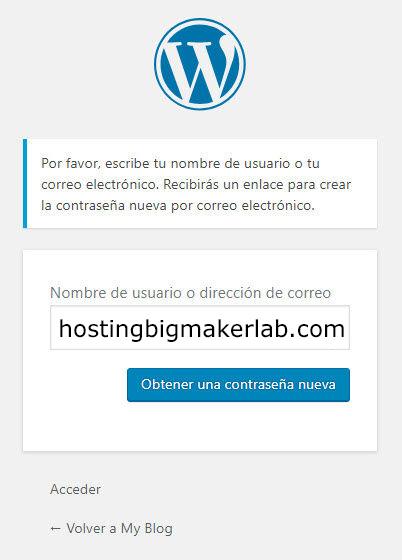 Resetear Contraseña WordPress hostingbigmaker 2